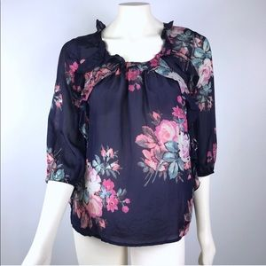 Leifsdottir | Anthro Floral Silk Ruffle Blouse EUC